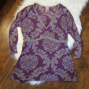 Sweet pea Large long sleeve blouse purple & grey